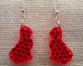 Recycled red cat, pussycat, kitten, kitty earrings from retro-reflecto...