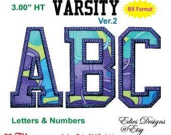 "Varsity 3.00"" HT Letters & Numbers Machine Embroidery Applique Designs BX Format Monogram Fonts Digital Download"