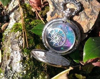 "Sale! Melted Crayon Art Pocket Watch- ""Galaxia"""