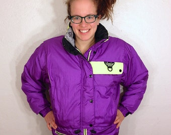 Purple and Neon Yellow Mountain Goat Ski Jacket Coat Iridescent Skiing Snowboarding Winter Warm X Games Olympics S Small 1980s 80s 1990s 90s