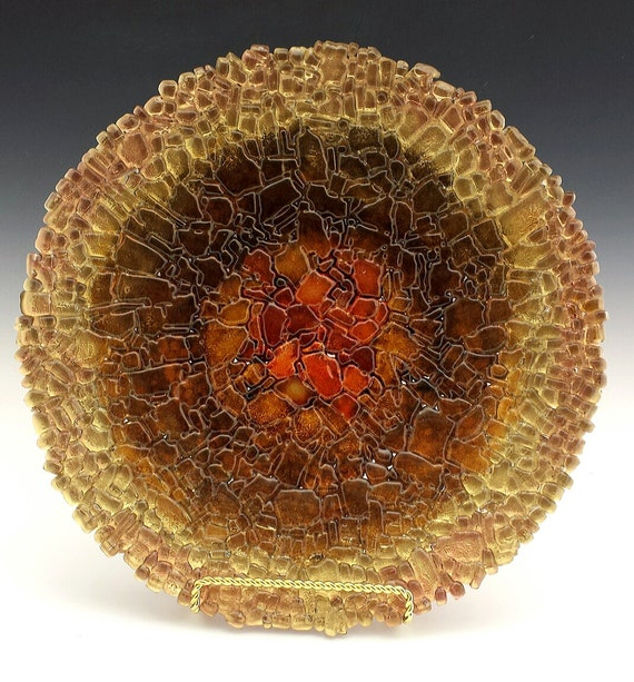 Shades of Brown and Gold Fused Tempered Glass Bowl