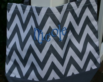 8 Personalized Bridesmaid Gift Chevron Womens Tote Bag Gray Chevron