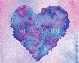 Heart Print, Valentines Love Background, Instant Download Printable, Romantic Decor, Colorful Love Wall Art, Watercolor Heart Digital Print