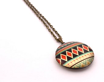 Geometric Tribal Locket Necklace // Colorful Locket // Vintage Brass // Pattern Locket // Geometric Necklace // Triangle Necklace