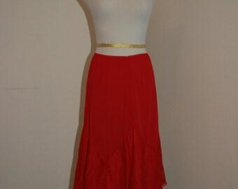 SALE Vintage red half slip with wide lace hem