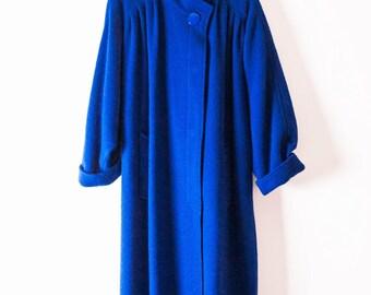 Blue Wool Batwing Coat Long in Cobalt Blue by Wolfgang Kaiser |  Vintage Pure Wool Coat in Cobalt |  Long Wool Coat  |  Batwing Wool Coat