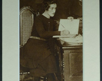 Vintage Sepia Print of Margot Asquith, Countess of Oxford and Asquith.  Historical portrait art, vintage sepia photography, old fashioned