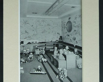 1950s Vintage Nautical Print of the Children's Playroom Aboard RMS Queen Mary Cunard White Star Line decor, luxury pasenger liner photograph