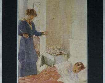 1914 Antique William Russell Flint Print for JM Barrie's 'A Holiday in Bed' Lazy Duvet day decor. vintage sleep art - Sleepy Gift - Sleeping