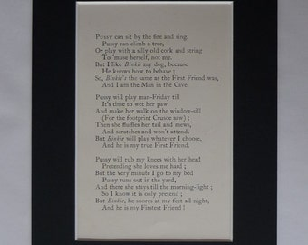 Mounted Cat Poetry Print from Rudyard Kipling's Just So Stories for Little Children Childrens poem Cat that Walked by Himself, nursery decor