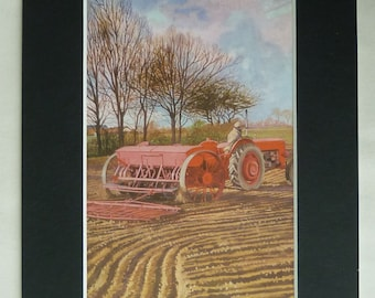 Vintage 1960s Agricultural Print, Farming Gift, Tractor Decor, Sowing Seeds, Available Framed, Rural Art, Rustic Country Wall Art John Berry