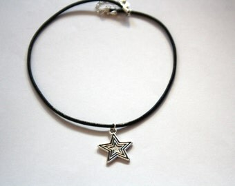 Detailed Star Choker Necklace, Black Leather Cord Choker, Antiqued Charm, Charm Necklace