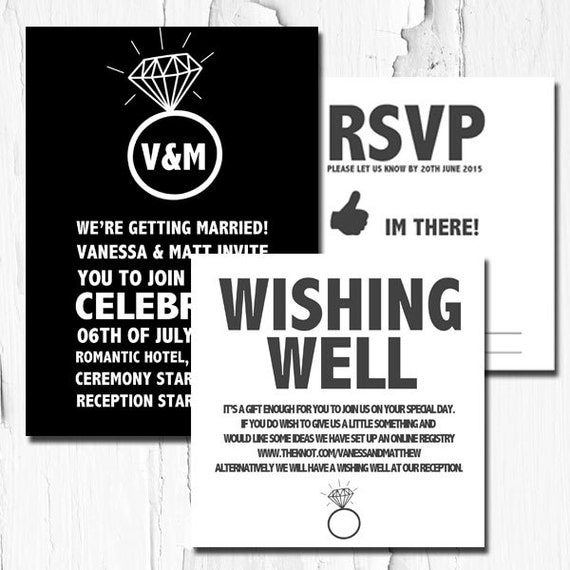 Wedding Invitation Pack Wishing Well RSVP Card Ring