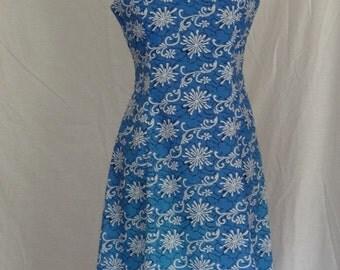 1960s Dress / Cornflower Blue Abstract Atomic Print Sundress w Appliques