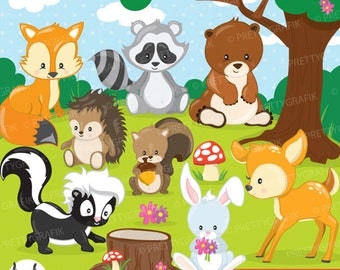 woodland animals clipart commercial use, vector graphics, digital clip art, digital images - CL807