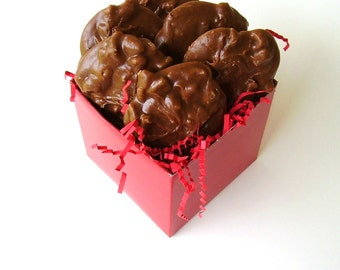 Chocolate Pecan Pralines in Red Gift Box - 1 Half Dozen