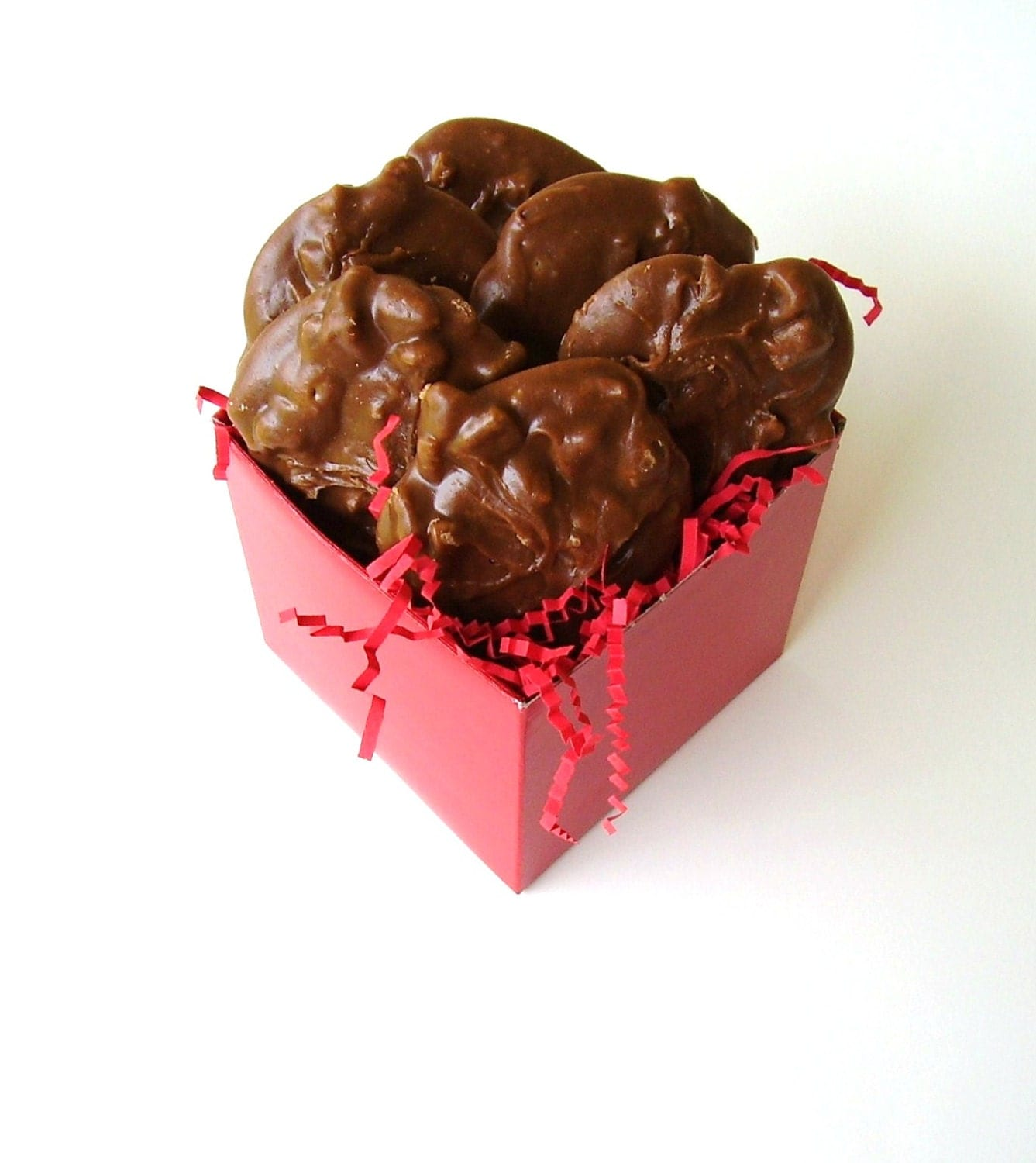 Chocolate Pecan Pralines in Red Gift Box 1 Half Dozen