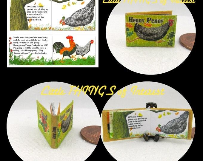 HENNY PENNY Color ILLUSTRATED Miniature Book Dollhouse 1:12 Scale Readable Book