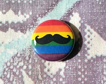 LGBT Rainbow Flag with Mustache Pinback Button or Magnet