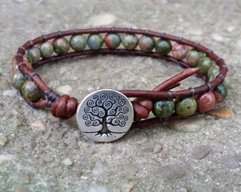 single leather wrap bracelet Unakite celtic bracelet tree of life button