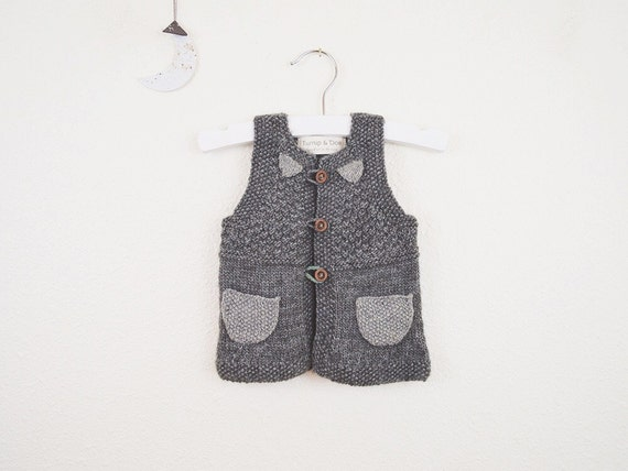 SALE / Knit Baby Gray Contrast Pocket Vest, Knitted Baby Sweater Vest, Vests for Baby Boys, Girls, Baby Knitwear