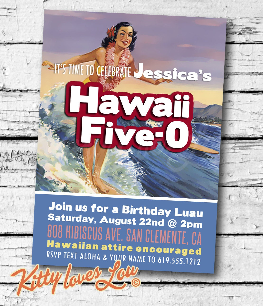 PRINTABLE Hawaii Five-0 50th Birthday Party Invitation Digital
