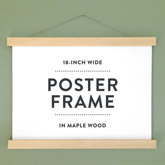 18 wooden poster hanger poster frame in maple wood with magnetic fasteners no