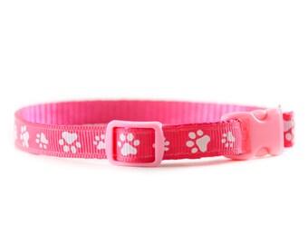 Pink Paw Print Collar - Teacup Dog and Cat Collar - Animal Print Hot Pink Narrow Collar