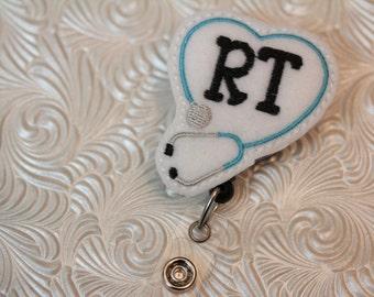 For the Respitory Therapist - professional  badge holder - retractable  - badge reel - name badge holder - felt badge reel - badge clip