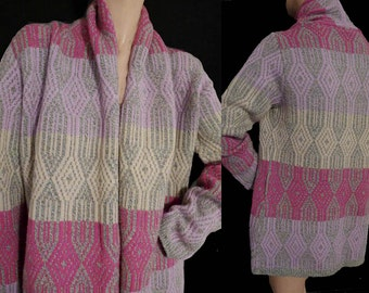 Oilily Vintage Wrap Cardigan Sweater S Wool Blend Multi color long sleeves open front