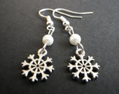 Winter Snowflakes- Frozen- Snow- Ivory White Pearls- Earrings- Silver- Handcrafted- Holiday- Christmas- Stocking Stuffer- Gift for Her