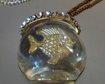 Rare Lucite Fish Necklace Single Fish, Jelly Belly Lucite Rhinestone Fishbowl, Fish Necklace, Lucite Jewelry