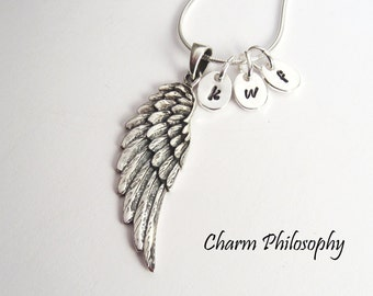 Angel Wing Charm Necklace - 925 Sterling Silver Personalized Jewelry -  3 Initials - Grandma of 3 - Mom of 3 - Sympathy Gift