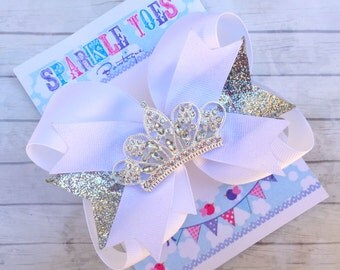 White Princess Bow - Silver glitter bow - Princess Party - YOU PICK COLOR - Girls Hair Bows - Toddler, Infant, Big girls Bow