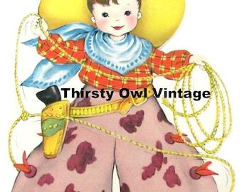 Digital Download, Vintage Cowboy Image, 1950's Little Boy, Cowboy Birthday Card Image, Cowboy with Lasso, Printable Image, Scrapbooking