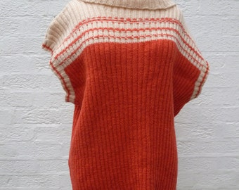 Womens jumper ladies sweater knitted clothes 90s chunky tank top womens orange sweater handmade vintage sweater winter gift top ladies knit.