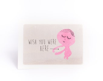 Wish you were here hug card