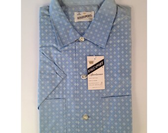 Vintage Late 50s Early 60s Deadstock Short Sleeve Button Up Shirt by Kolesport Size Medium