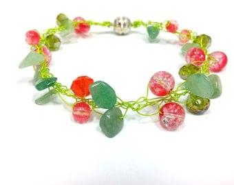 Green  Aventurine bracelet Aventurine bracelet. Red bracelet. Spring jewelry. wire bracelet knitted wire jewelry handmade