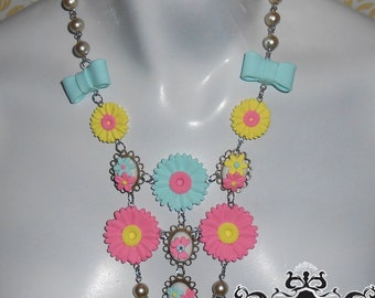 Spring Statement Necklace, Spring, mothers Day, Sunflowers, colorful Kawaii Necklace