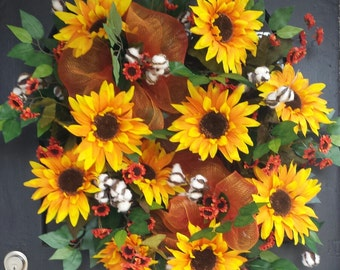 Grapevine Fall Wreath with Sunflowers, Mesh, and Cotton