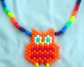 Colorful Owl Kandi Necklace