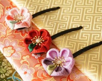 Japanese Cloth Flower Hair Pin, Kanzashi Flower Hair Pin, Oriental Hair Pin, Japanese Hair Pin (Pink, Red, Purple)
