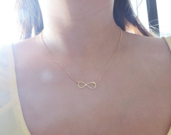 Large Gold Infinity Necklace • Eternity Forever Endless Love Charm • Mother Daughter Friendship Bridesmaids Anniversary Minimalist Jewelry
