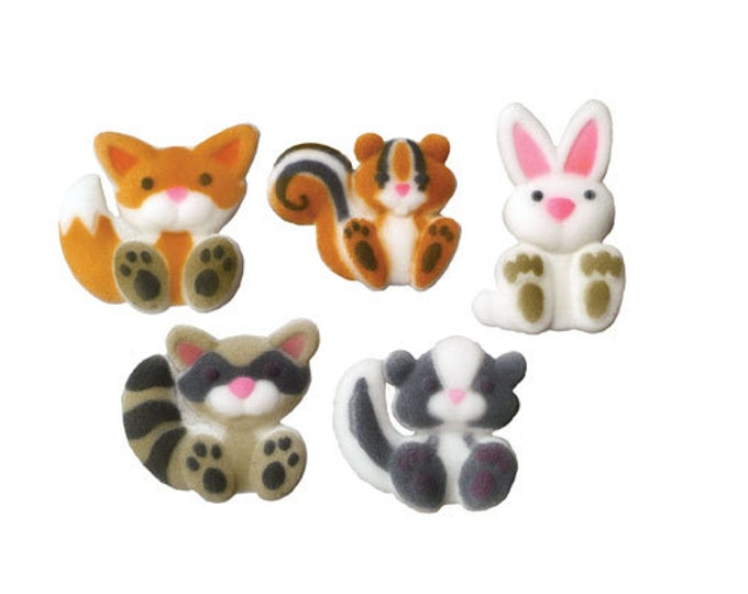 14 Woodland Creatures Molded Sugar Cake / Cupcake Topper Decorations