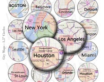 50% Off Sale - City Maps - Digital Collage Sheet  - 1.5 inch Round Circles - INSTANT DOWNLOAD