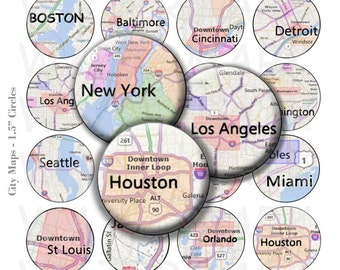 99 Cent Sale - City Maps - Digital Collage Sheet  - 1.5 inch Round Circles - INSTANT DOWNLOAD