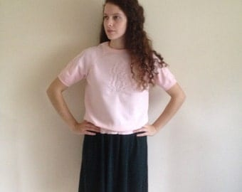 Vintage 80's baby Pink Short Sleeved lightweight Pull On Pique Jumper Sz 8 10 Approx.