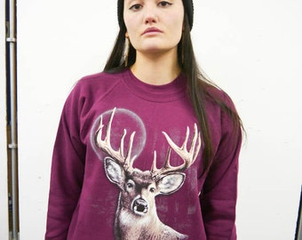 Wildlife Deer Silhouette jumper, Deer sweatshirt, Deer sweater, Animal Sweatshirt, Wildlife Sweatshirt, The Mountain, Urban Outfitters, New