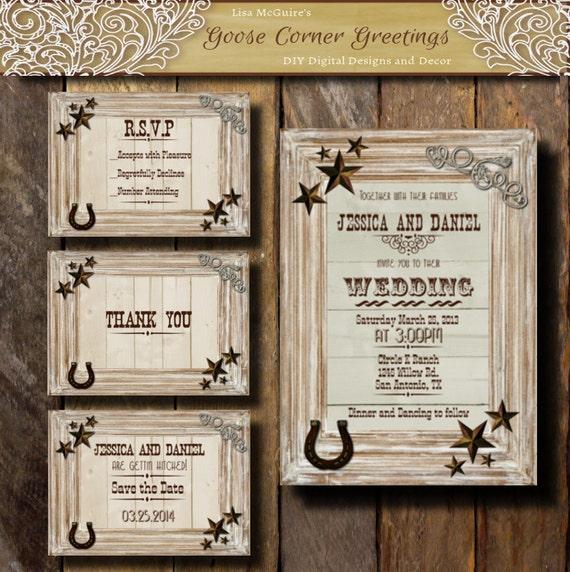 Western Wedding Invitations: Western Wedding Invitation Suite Rustic By